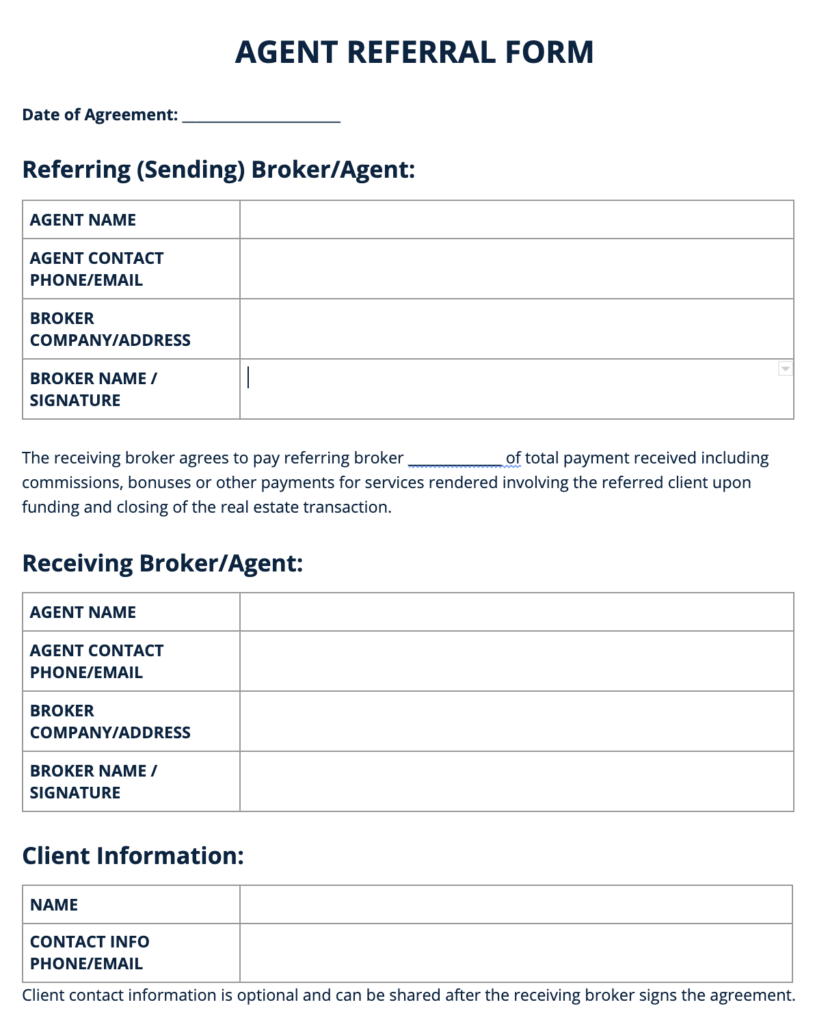 Agent Referral Form